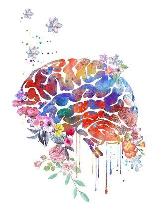 'Anatomía del cerebro, cerebro floral_' by Rosaliartbook